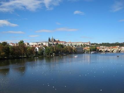 Blick auf das Schloss an der Moldau